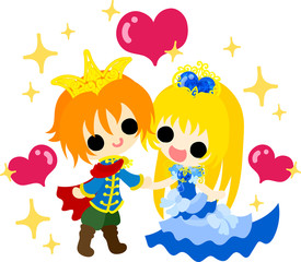 Illustration of the pretty princess and prince