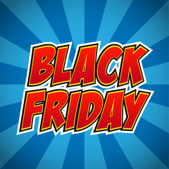 Banner flyer pop art comic black friday sale discount promotion. Decorative background with rays