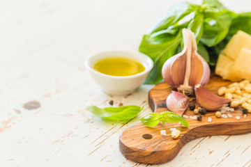 Pesto sauceingredients on wood board