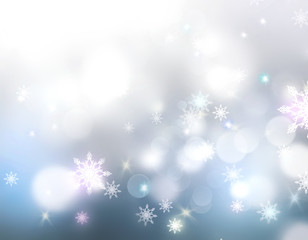 Holiday glowing lights winter snowflakes background.