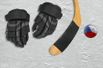 Czech hockey puck and accessories