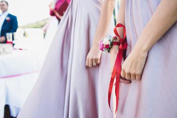 young bridesmaids in  purple original dresses