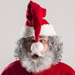 cheerful funny traditional santa claus