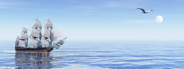 Fotobehang Schip Old ship HSM Victory - 3D render