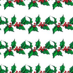 Mistletoe Christmas vector seamless pattern. Hand drawn botanical holly