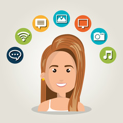 woman web online isolated vector illustration eps 10