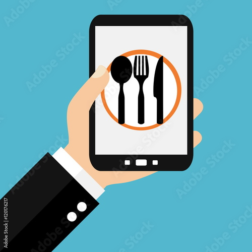 essen bestellen oder restaurants suchen mit dem smartphone stock photo and royalty free images. Black Bedroom Furniture Sets. Home Design Ideas