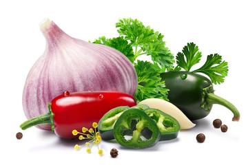 Garlic, Jalapenos, peppercorns, herbs, paths