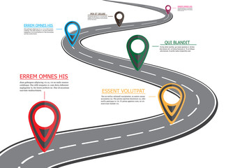 Street road map ,business infographics with colorful pin pointer, vector illustration