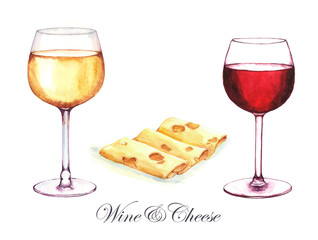 Hand-drawn watercolor illustration of two alcohol drinks in the glasses: white wine, red wine and sliced cheese. Isolated wine drawings