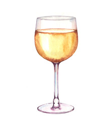 Hand-drawn watercolor illustration of alcohol drinks in the glass. White wine isolated on the white background