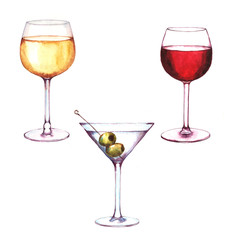 Hand-drawn watercolor illustration of the three alcohol drinks in the glasses: white wine, red wine and the martini with the green olives. Isolated wine drawings