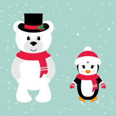 cartoon winter bear and penguin with hat and scarf