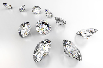 Group of diamond isolated on white background ,3D