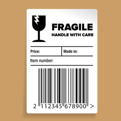 Fragile Barcode Packaging Label or sticker vector