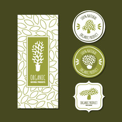 Set of vector organic labels, badges, stickers, packaging design elements and backgrounds. Hand drawn tree logo or emblem and seamless line leaves pattern.