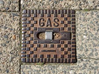 Gas, Gasnetz, Kanaldeckel, Straßeneinbau