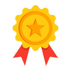 Gold award with red ribbon in flat style.
