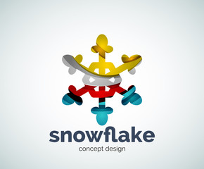 Vector Christmas snowflake logo template