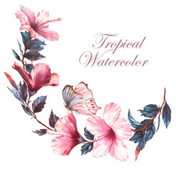Hand-drawn watercolor floral illustration of the tender white composition with pink hibiscus flowers and the tropical butterfly. Natural drawing isolated on the white background. Romantic blossom.