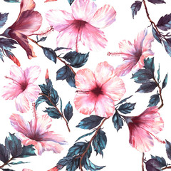 Hand-drawn watercolor floral seamless pattern with the tender white and pink hibiscus flowers. Natural tropical and vibrant repeated print for textile, wallpaper etc