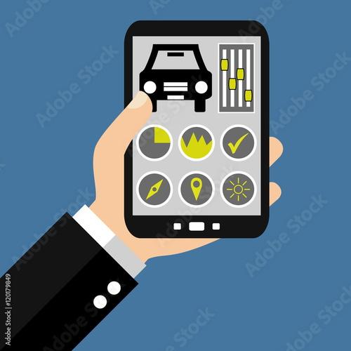 auto steuern mit dem smartphone stockfotos und lizenzfreie bilder auf bild 120179849. Black Bedroom Furniture Sets. Home Design Ideas