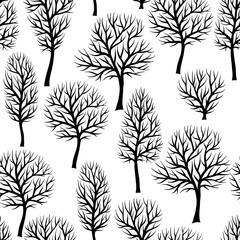 Seamless pattern with abstract stylized trees. Natural view of black silhouettes