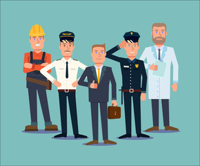Professions people set. Flat vector
