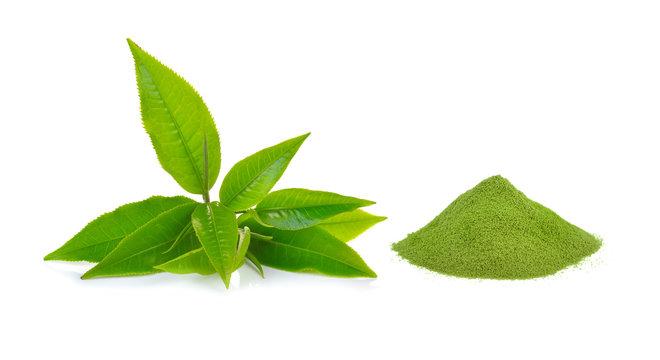 powder green tea and green tea leaf  on white background