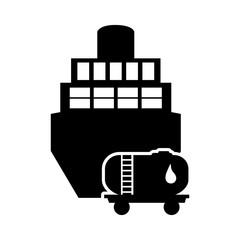 flat design cargo ship and fuel tank icon vector illustration