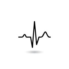 EKG signal on white background.