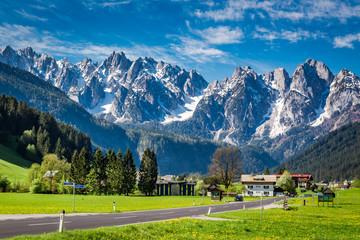 Beautiful town Gosau in the Alps, Austria Wall mural