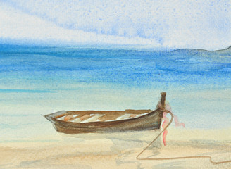 One fishing boat on the blue sea, watercolor painting