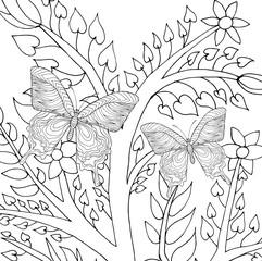 Butterflys in fantasy garden