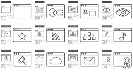 Application line icon set.