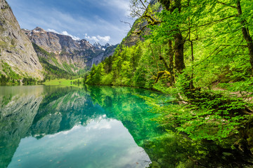 Beautiful view for green mountain lake in Alps, Germany Wall mural