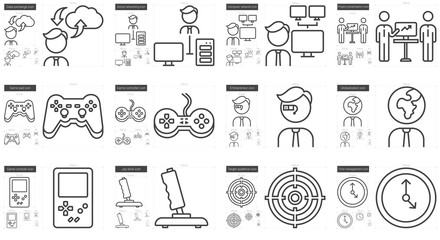 Hi-Tech line icon set.