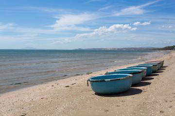 nautical fishing coracles, tribal boats at fishing village