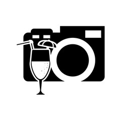 flat design photographic camera and tropical cocktail icon vector illustration
