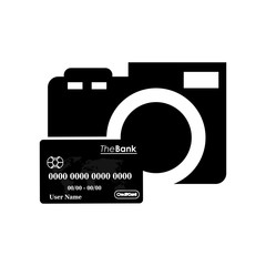 flat design photographic camera and credit card icon vector illustration