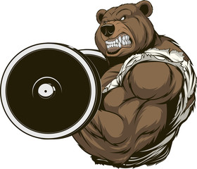 Angry bear athlete