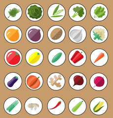 Fresh and tasty vegetable icon set.