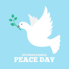Dove of peace icon flat