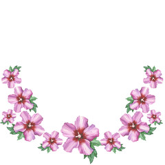 Hibiscus rose flower wreath ornament in watercolor drawing.