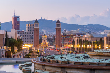 Barcelona city at dusk ,Spain