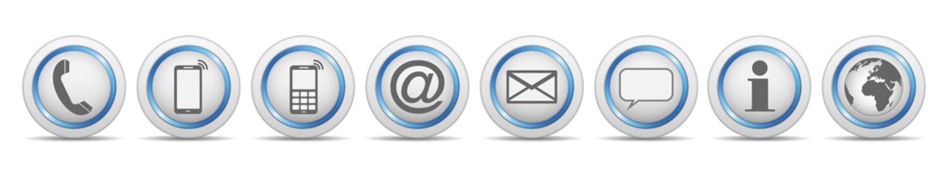 communication contact us icon white blue symbol vector set isolated / kontakt symbol icon vektor set blau weiß isoliert