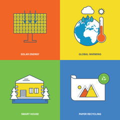 Concept of solar energy, global warming, smart house, paper recyclinge.