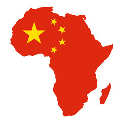 METAPHOR MEANING: Map of Africa in colors of China as metaphor of Chinese economic activities on African land