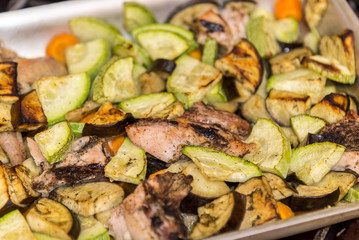 Chicken baked in oven with eggplant and zucchini