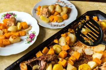 Chicken baked with potato and a pumpkin